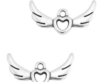 """DQ Metal pendant """"Heart with Wings""""-2 pcs.-Zamak-color selectable (color: silver)"""