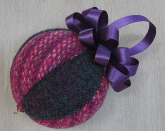 Harris Tweed Pink & Cadbury Purple Luxury Christmas Tree Bauble   #109