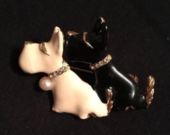 Enameled Black & Cream Puppy Brooch / Pin