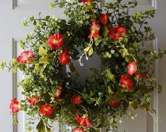 Door Wreath, Fall Wreath, Summer Wreath, Eucalyptus Boxwood Petunias Wreath, Red Petunias Wreath, Morning Glory Wreath