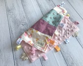 Baby Taggy Comforter, security blanket, baby Gift - Pretty Patchwork