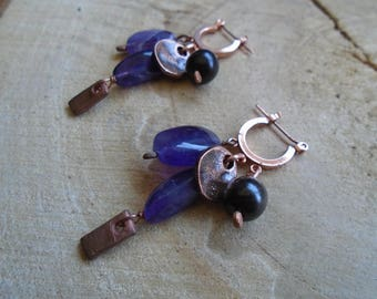 Amethyst earrings, ebony and copper / / nature jewelry
