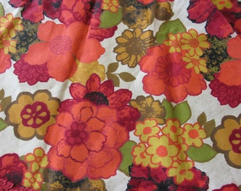 "Vintage Red and Orange  Round Table Cloth 70"" Diameter"