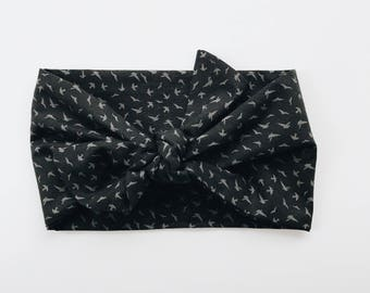 Gray Bird on Black Headwrap/Headband - One Size Fits