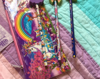 Lisa Frank Pencil Pouch with 3 Pencils