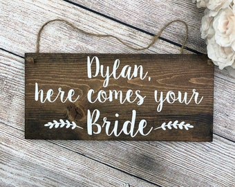 "Personalized Hand Painted Wood Wedding Sign Name & ""Here Comes Your Bride"" - Ring Bearer Sign, Flower Girl Sign, 12""x5.5"" Dark Walnut/Gray"