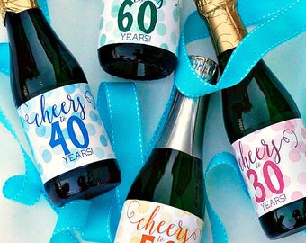Birthday Mini Champagne Label - Cheers to 60 Years Mini Wine Label - 50th & 60th Birthday Party Decoration - Cheers to 50 Years Bottle Label