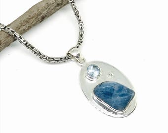 Aquamarine, blue topaz pendant, necklaces set in sterling silver 92.5. Length-  1.75 inches. Natural authentic stones.