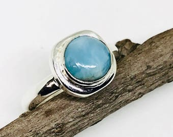 Larimar ring set in sterling silver (92.5). Size- 6, 7. Natural authentic larimar stone .