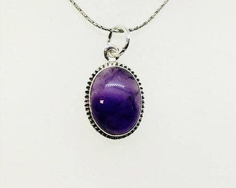 10% Amethyst Pendant/ necklaces set in Sterling silver 925. Natural authentic amethyst stone. Length - 1.05 inch long.