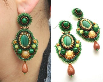 Bead embroidered earrings Brown green earrings Ethnic earrings Beaded embroidery earrings Green dangle jewelry Beadwork earrings cabochon