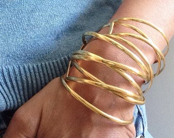 Gold Plated Cuff, Minimal Bracelet, Simple Gold Bracelet, Gift, Ethically made/  SUMMER SALE