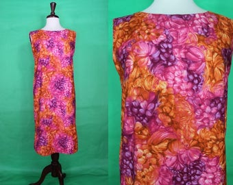 Hawaiian Dress    60's Ui-Maikai Floral Shift Hawaiian Dress