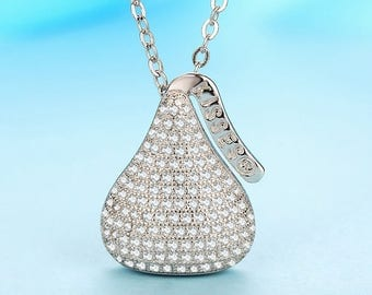 Hershey jewelry etsy 925 sterling silver hershey kisses pave crystal rhinestone pendant cute delicious chocolate necklace pendant chunky kids mozeypictures Choice Image