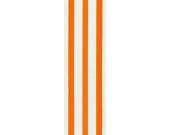 Orange striped ribbon by the yard, orange and white ribbon, cheer ribbon, school ribbon, hairbow ribbon, wide stripe ribbon, craft ribbon