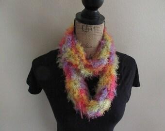Bright fluffy infinity scarf