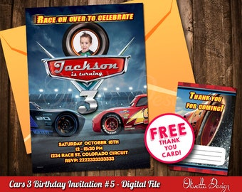 Cars 3 Invitation for Birthday Party with photo Lightning Mcqueen- Digital File id#3