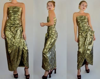 SCAASI | Xs Small | 1980s ARNOLD SCAASI Gold Lame Wiggle Dress 80s Strapless Floral Cocktail Maxi Dress