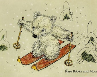 Polar Bear Skier - Illustrator A. Golubev - Vintage Soviet Postcard, 1966. Skiing Winter Olympics Animals Art Print
