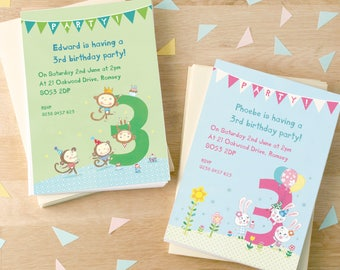 Personalised Third Birthday Party Invitations