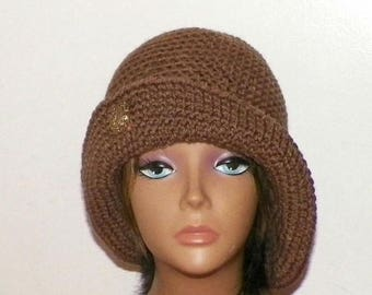 On Sale- Brown Cloche Hat Flapper Womens Button Downton Abbey Freeform Cafe Latte  Beanie Crochet Gatsby Bucket 1920s Style