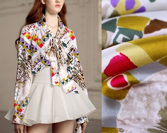 110*88CM Wide 16MM Special Print Thin Silk Fabric for Spring and Summer Dress Blouse Scarf E630