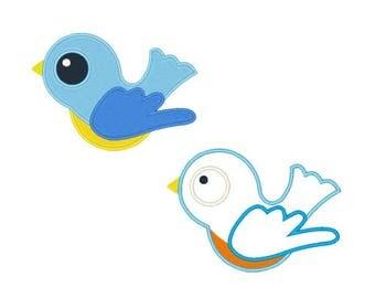 Blue Bird Machine Applique Designs Filled Stitch and Applique