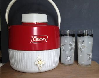 Vintage Coleman Thermal Jug, 1 gallon Retro Picnic Beverage Cooler, Insulated Drink Cooler, Coleman Snow - Lite Beverage Cooler