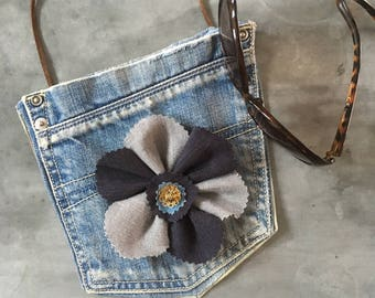 Jeans Pocket bag, Denim flower handbag, Cross body bag, Festival accessories, Upcycled fabric purse,  Summer girls wear, Long strap jeansbag