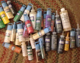 Huge Lot of PLAID GALLERY Stained Glass Paint - 42 Bottles - Including Color Paint and Leading - Craft Supplies