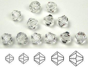 Clear Crystal, Czech Glass Beads, Machine Cut Bicones (MC Rondell, Diamond Shape), 3mm, 4mm, 5mm, 6mm, 8mm
