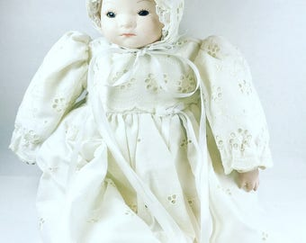 Vintage Hand Painted Handmade Ceramic Baby Christening Gown Doll