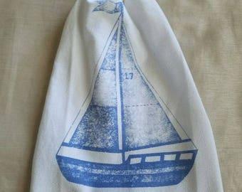 Crochet Kitchen Towel,Sailboat Kitchen Hand Towel,White Kitchen Towel,Hand Towel,Nautical Towel,Wedding Gift,Crochet Gift,Ready to ship