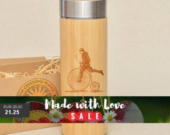 Original Bamboo Thermos Wooden Flask 380 ml Engraved Wood PENNY FARTHING Stainless Steel with Screw Lid