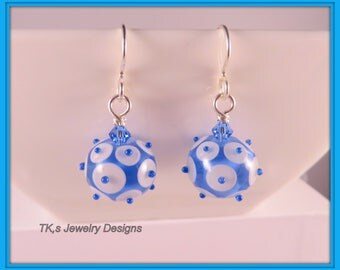 Artisan Handmade Lampwork glass beads earrings,Sterling silver French hook wires,Blue and White Dote Beads,SRA Lampwork Glass Beads