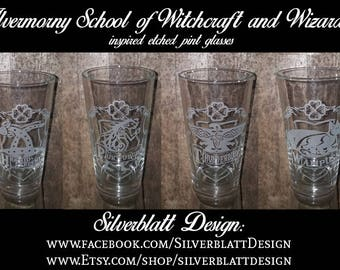Harry Potter North American Ilvermorny School 4 House Set Horned Serpent, Wampus, Thunderbird, and Pukwudgie Pint glasses Geek Glassware Set