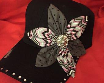 Black hat with pink gray chevron