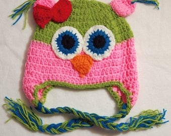 size 6-7 bright PINK and lime GREEN Crochet OWL Hat big blue eyes