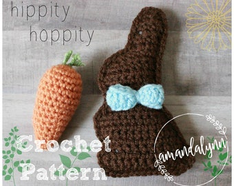 Mini Chocolate Bunny & Carrot Crochet Pattern - Easter Crochet Pattern