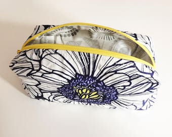 Lined, quilted flowery make up bag/pencil case - 100% cotton