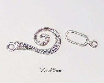 silver metal 10 x Orange spiral hook clasps