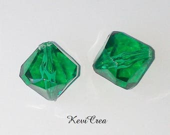 Acrylic bicone beads 5 x 14mm faceted grass green