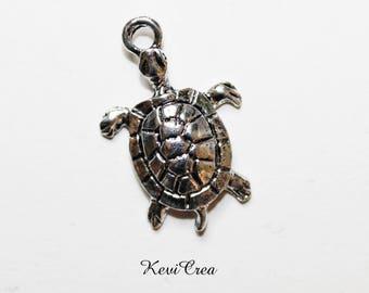 6 x turtle charms silver metal
