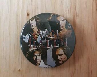 Vintage 1980s Van Halen Band Shot Button Jacket Pin David Lee Roth Eddie Van Halen Memorabilia photo pin band photo glam metal hair metal