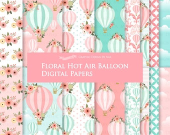 Air Balloon, Hot Air Balloon, Floral, Air Balloon Digital, Pink and Mint,  Air Balloon Digital Paper Pack - Instant Download - DP155