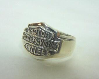 Mens Estate .925 Sterling Silver Harley Davidson Motorcycle Ring 14.9g #E3154