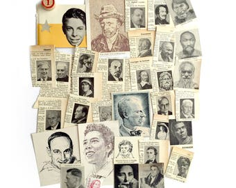 33 Vintage faces, a mixed collection of illustrated faces. Vintage ephemera for art, craft or scrapbooking. Set 1.