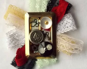Handmade Vintage inspired Ladies Lace, Buckle & clock parts Steampunk Rosette Brooch