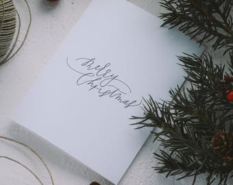 Holiday Greeting Card - Merry Christmas Calligraphy Card, Merry Everything, Merry Christmas, Christmas Card, Happy Holidays, Joy to All