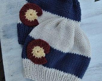 Colorado Flag Hat, Colorado Flag Beanie, Colorado Hat, Girl Colorado Hat, Boy Colorado Hat, Knit Colorado hats, Colorado flag hats,